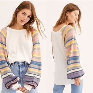 NWT Free People Rainbow Dreams Knit Sweater Top